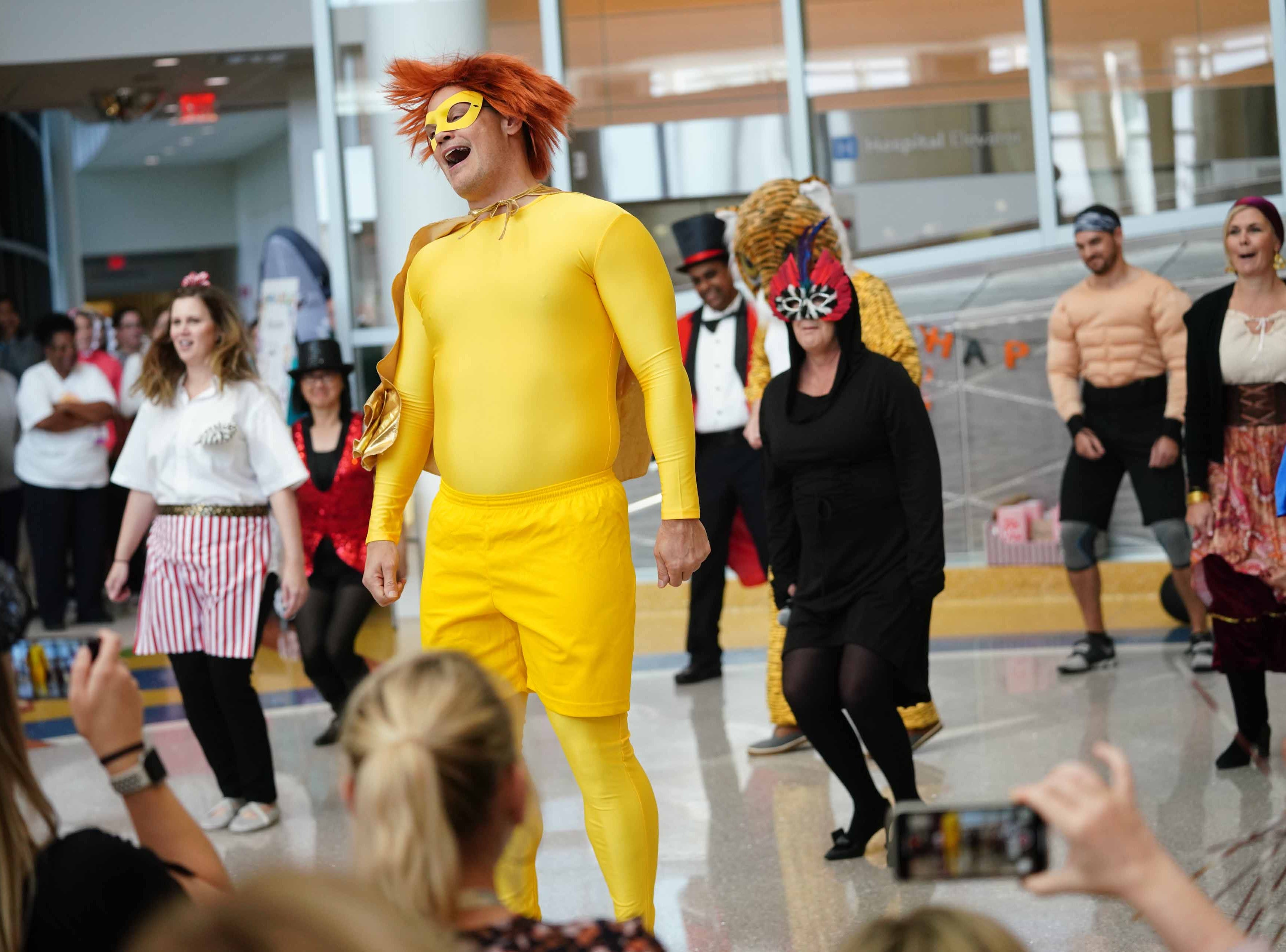 Staff from various departments at Nemours/A.I. duPont Hospital for Children dressed in costume to entertain patients and family at the annual Halloween Lip Sync contest in the hospital's atrium on Halloween. Select patients got to judge the performances for a winner.