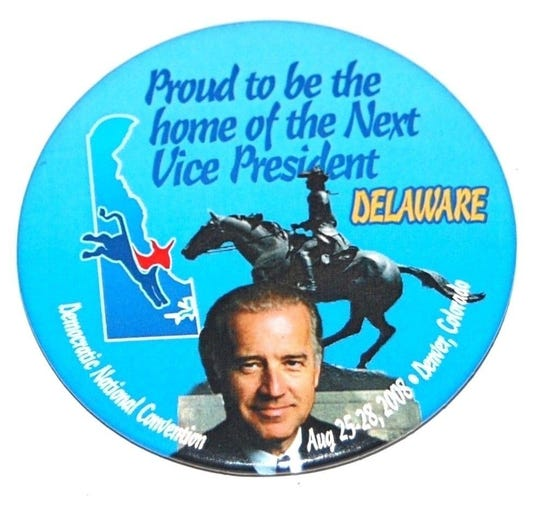 A Delaware-themed pin from the 2008 Democratic National Convention.