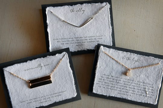Simple, femenine jewelry from Dear Heart is accompanied by inspirational Bible verses printed on hand-made paper and are available at Ruth & Esther on Kemp Boulevard.