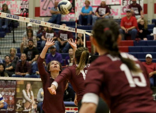 Bowie's Abby Zamzow sets the ball up in the match against Brock Tuesday, Oct. 30, 2018, in Graham.
