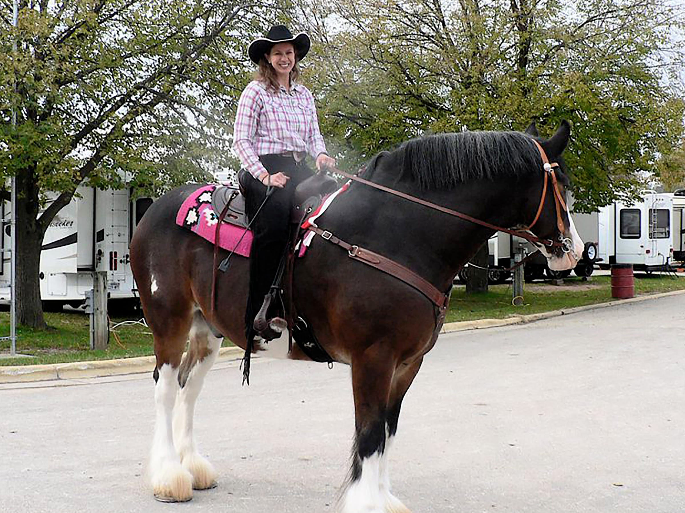 How do you mount such a tall horse? My dad helps, this rider says.