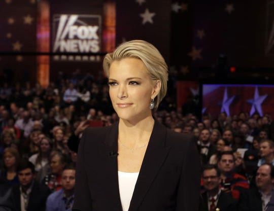 Moderator Megyn Kelly waits for the start of the Republican presidential primary debate in Des Moines, Iowa, in January 2016.