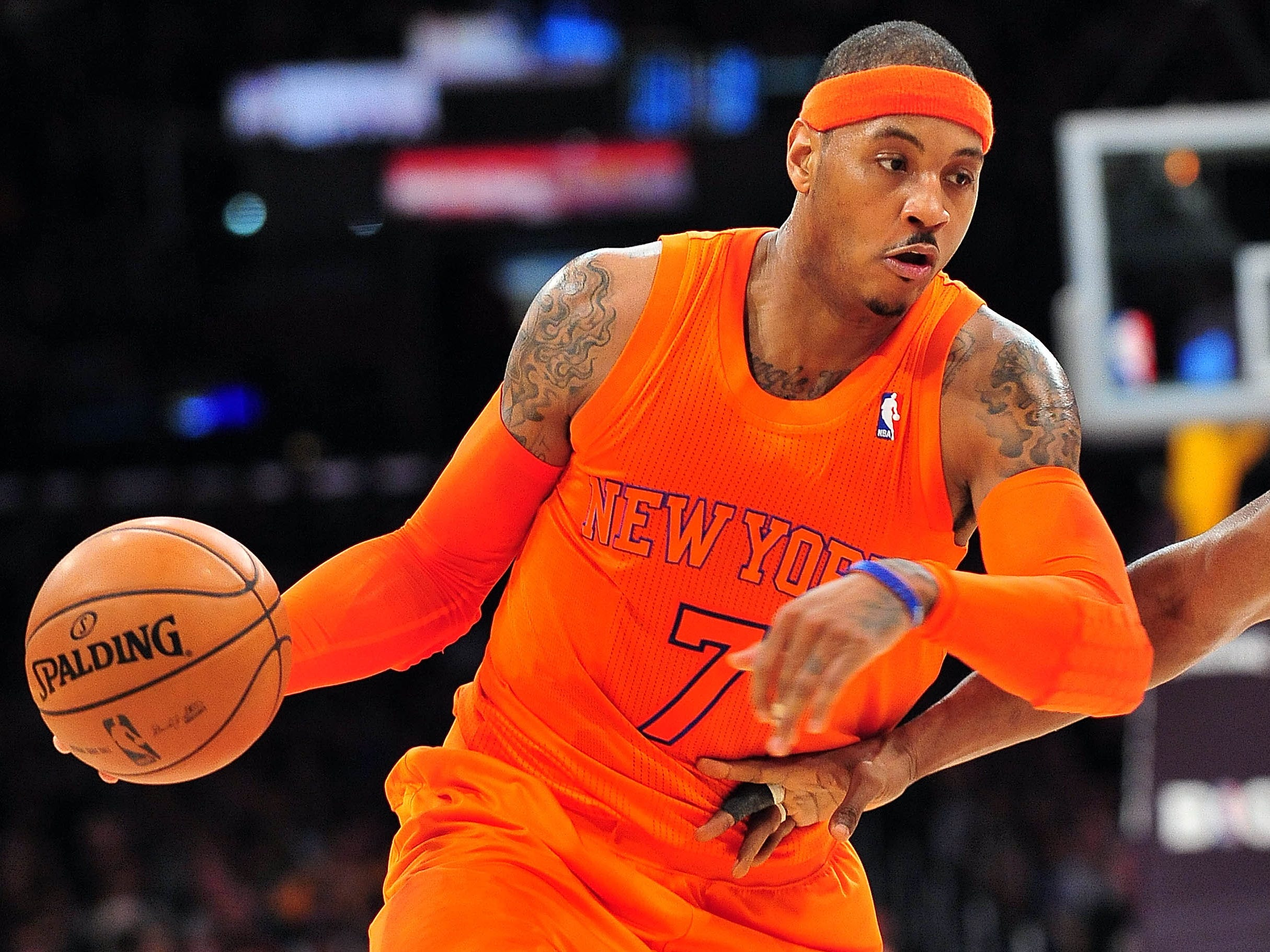 New York Knicks forward Carmelo Anthony wore more orange in 2012 than when he was at Syracuse.