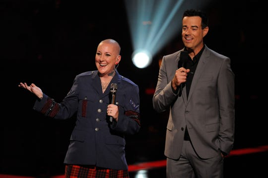 """""""The Voice"""" finalist Beverly McClellan, left, has died on cancer. She was 49. McClellan was a performer on Christina Aguilera's team during the first season of the singing competition. She is pictured with host Carson Daly."""