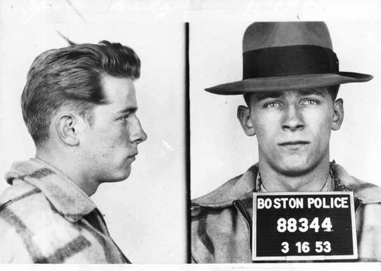 """These 1953 file Boston police booking photos provided by The Boston Globe shows James """"Whitey"""" Bulger after an arrest."""