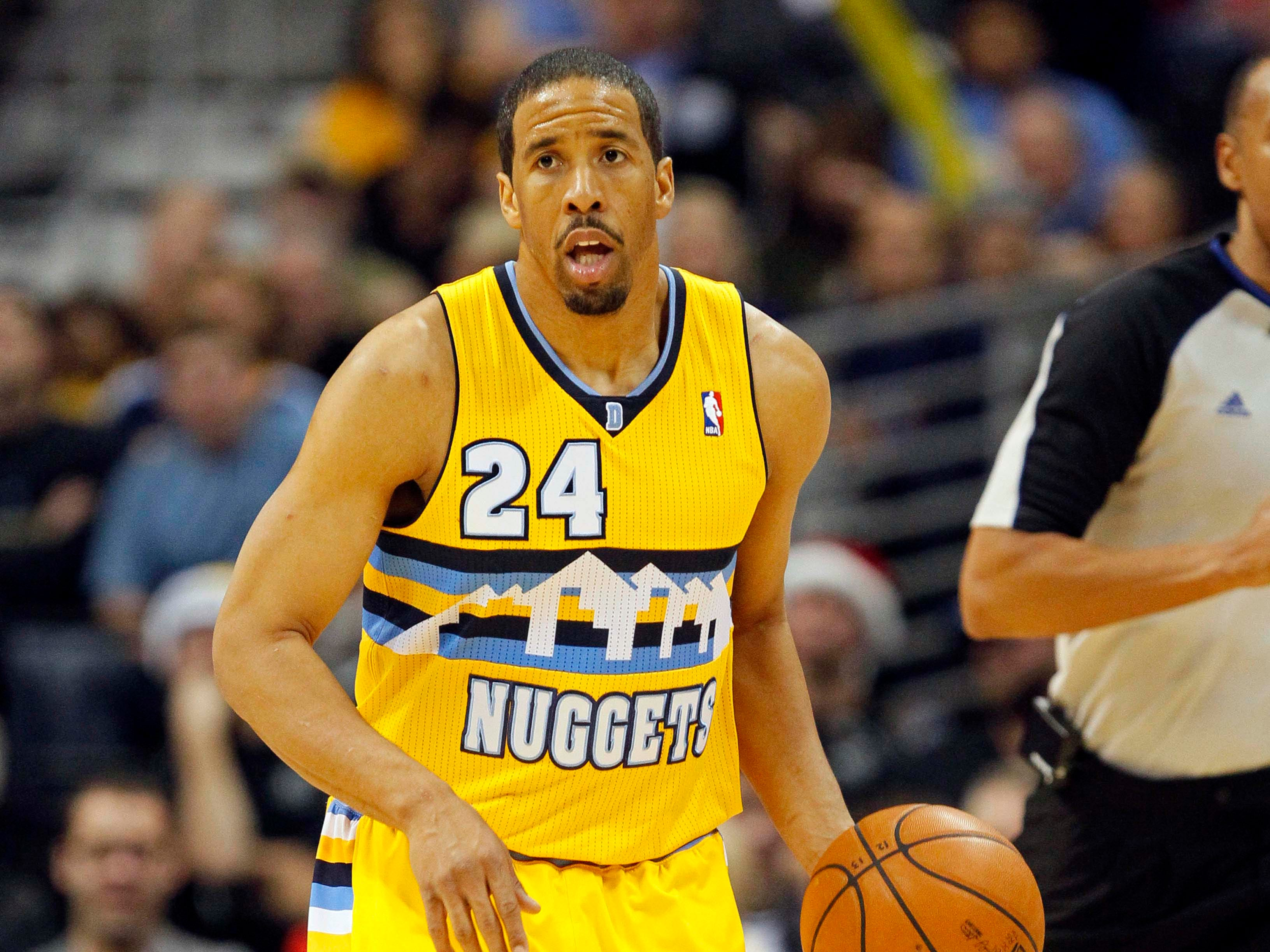 Denver Nuggets point guard Andre Miller's 2012 uniform shows off a mile-high mountainscape.