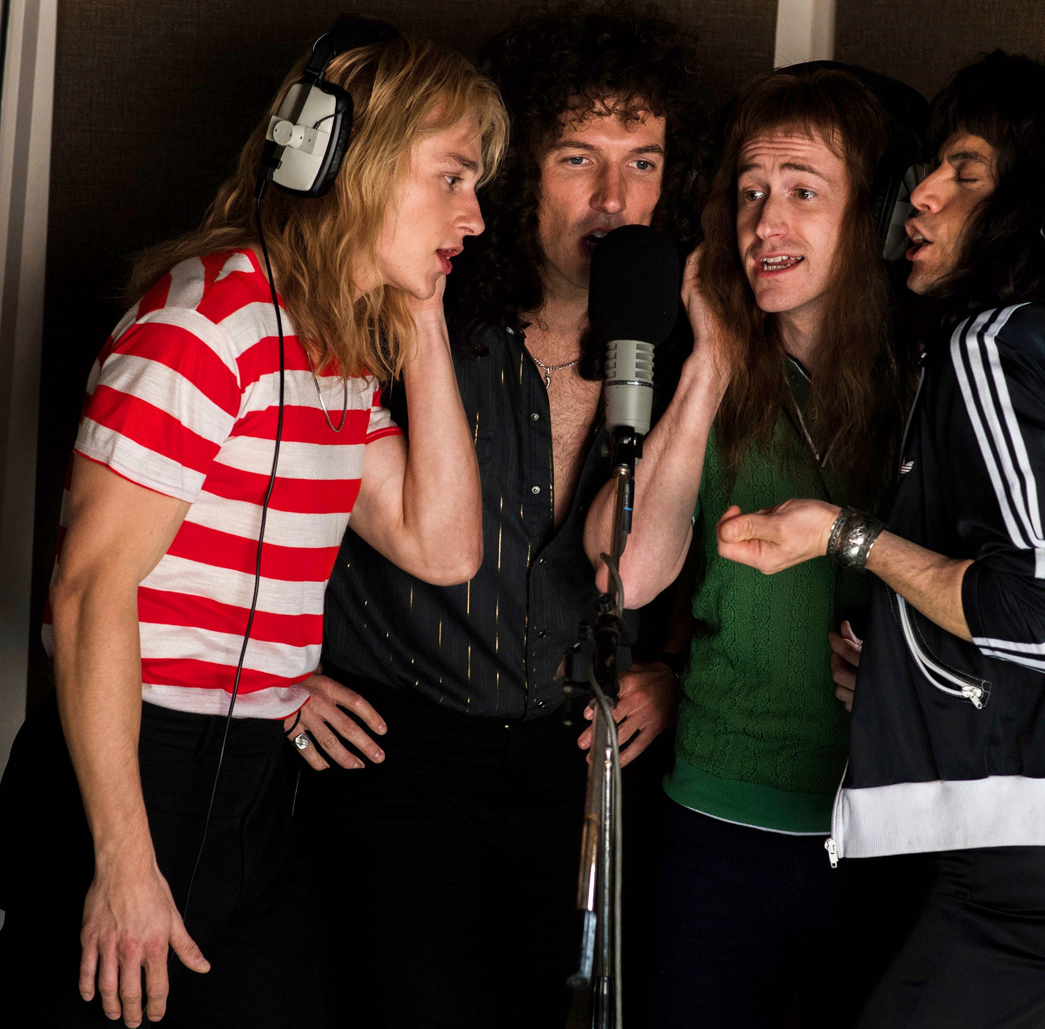 "This image released by Twentieth Century Fox shows, from left, Ben Hardy, Gwilym Lee, Joe Mazzello and Rami Malek in a scene from ""Bohemian Rhapsody."" (Alex Bailey/Twentieth Century Fox via AP) ORG XMIT: NYET727"