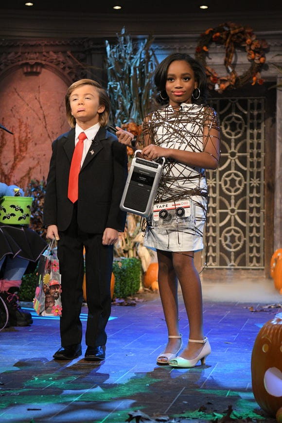 "Kids also offered their take on President Trump, Omarosa and her tape recorder as part of the Halloween festivities on ""The View."""