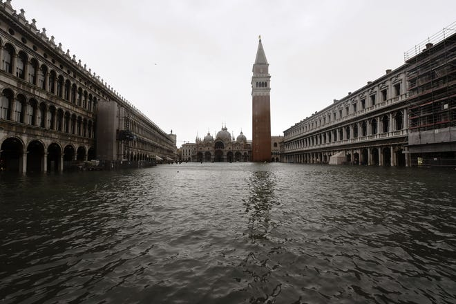 A picture taken on October 29, 2018 shows the flooded St. Mark's Square during a high-water (Acqua Alta) alert in Venice.