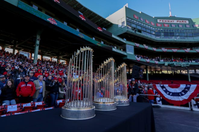 Red Sox championship trophies on display at Fenway Park before the parade.