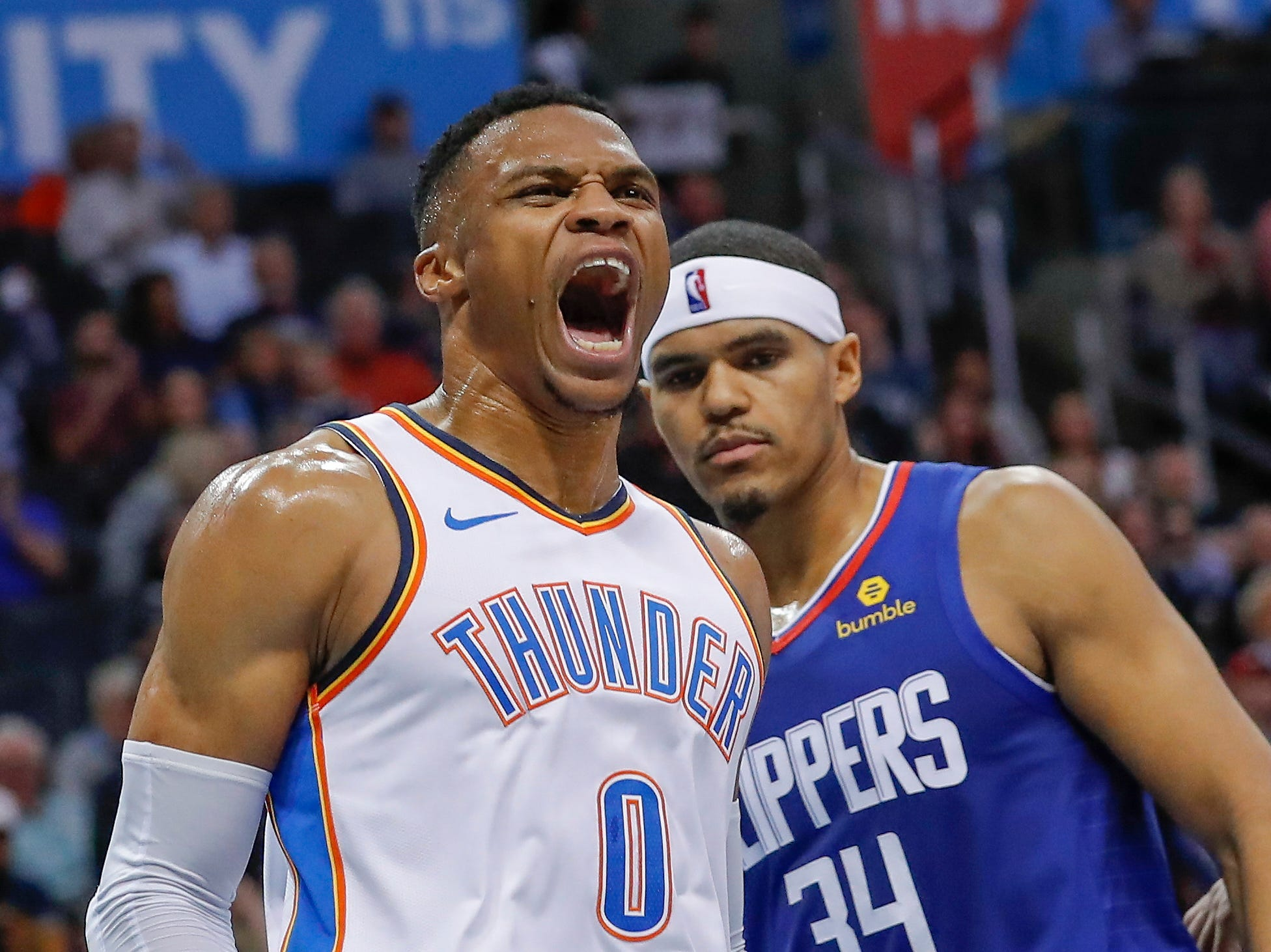 Oct. 30: Thunder guard Russell Westbrook reacts after a basket against the Clippers during the second half at Chesapeake Energy Arena.