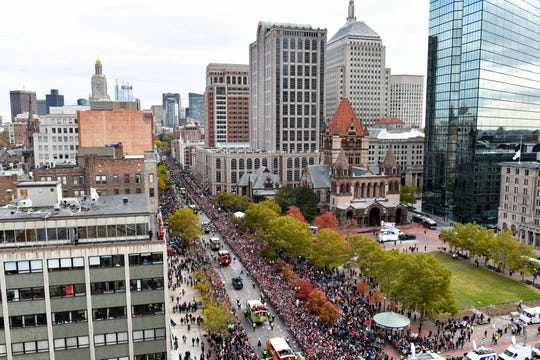 A view of the parade on Boylston Street near Copley Square.