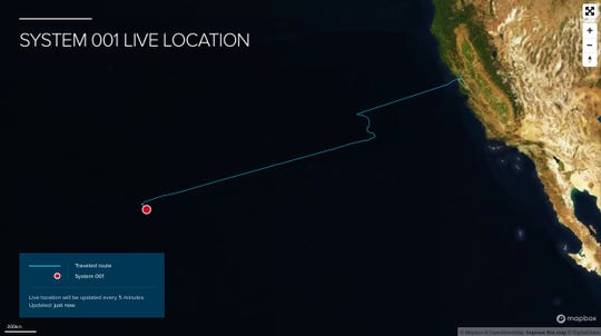 Location of the Ocean Cleanup System 001 as of Oct. 28, 2018.