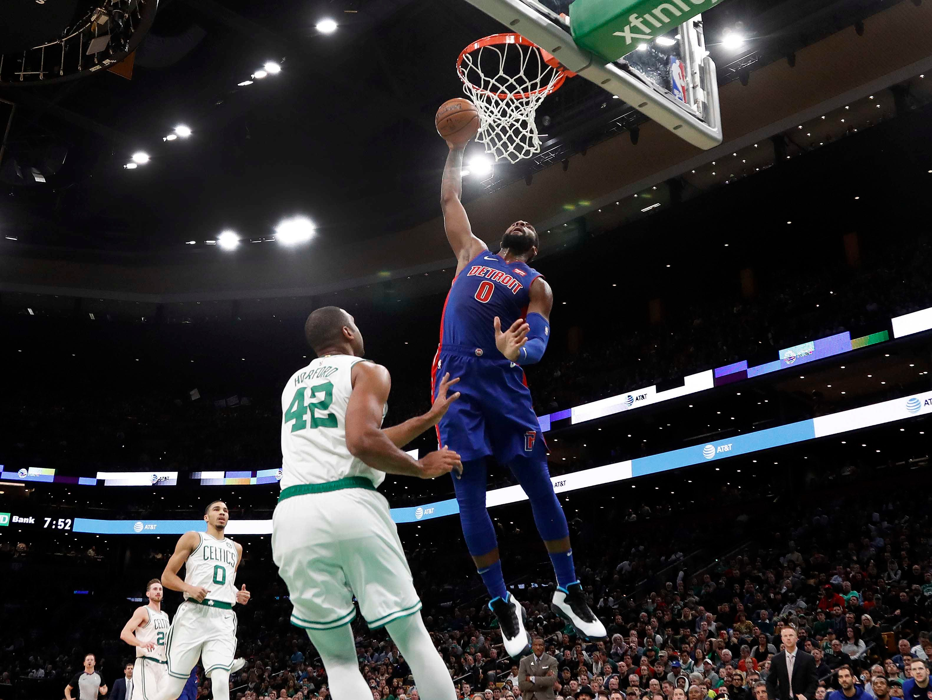 Oct. 30: Detroit Pistons center Andre Drummond goes up for a dunk over Boston Celtics center Al Horford during the first quarter at TD Garden.