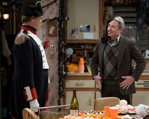 "Matthew Broderick, on the right, is a guest star as the possible love interest of Jackie, Peter, a snob who immediately repels Dan in Tuesday's Halloween episode of ABC's ""The Conners."""