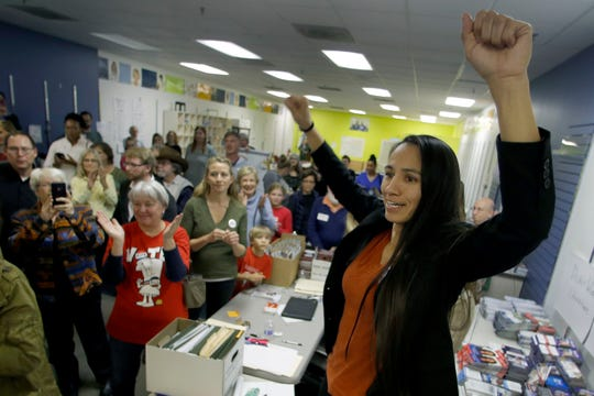 Democratic Congressional candidate Sharice Davids talks to supporters at her campaign office Monday, Oct. 22, 2018 in Overland Park, Kansas.