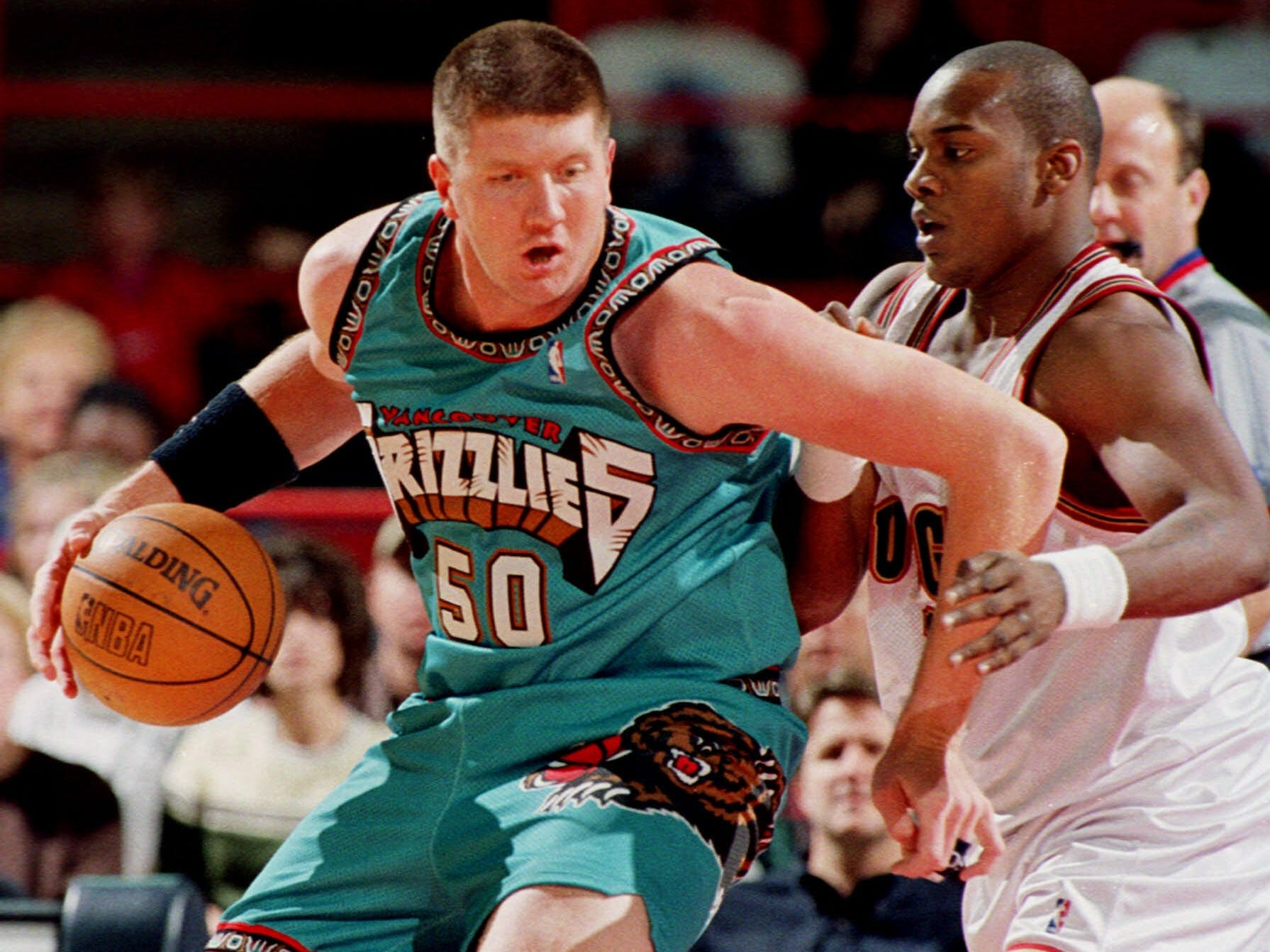 "Big grizzly bear for Bryant ""Big Country"" Reeves' 1999 Vancouver Grizzlies uniform."