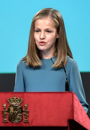 Spanish heiress of the throne, princess Leonor, reads the Spanish Constitution during a ceremony marking 40 years of its approval by the parliament, at the Cervantes Institute in Madrid, on October 31, 2018.