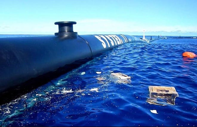 The first pieces of plastic trash captured by the Ocean Cleanup system once it was put into place in the Great Pacific Garbage Patch in mid-October, 2018. They include two plastic crates, five discarded fishing nets and several bottles and other plastic debris.