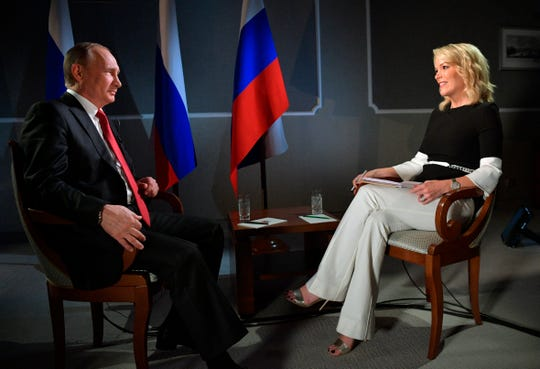 Megyn Kelly interviewed Russian President Vladimir Putin for her short-lived NBC Sunday night show, in June 2017 in St. Petersburg, Russia.  ORG XMIT: XAZ134