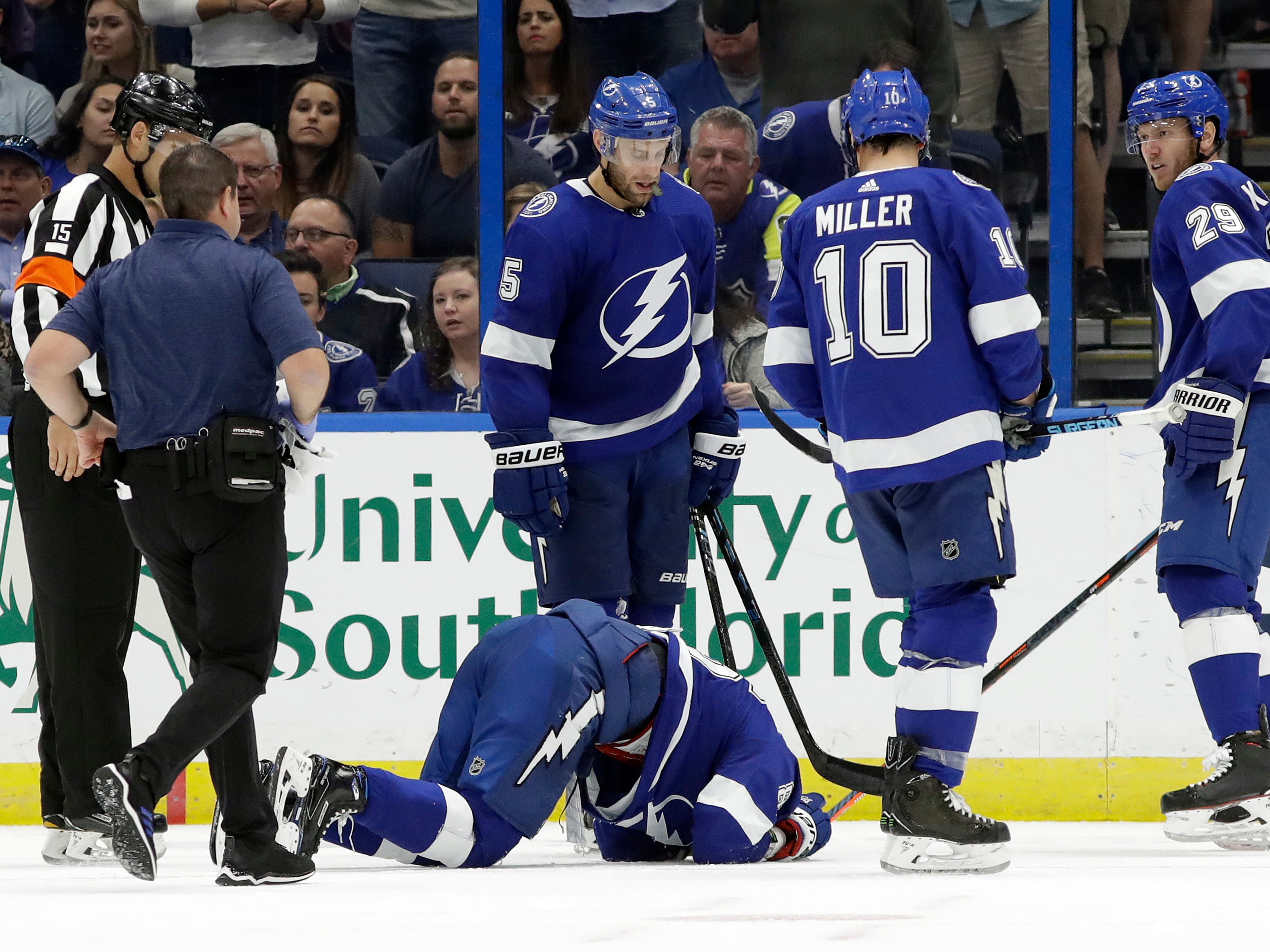 Oct. 30: Tampa Bay Lightning right wing Nikita Kucherov lies on the ice after blocking a New Jersey Devils shot during the second period. He later returns and scores his second goal of the game.
