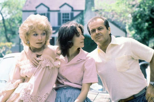 "Shirley MacLaine, Debra Winger and Jack Nicholson in the 1983 Academy Award-winning motion picture ""Terms of Endearment."""
