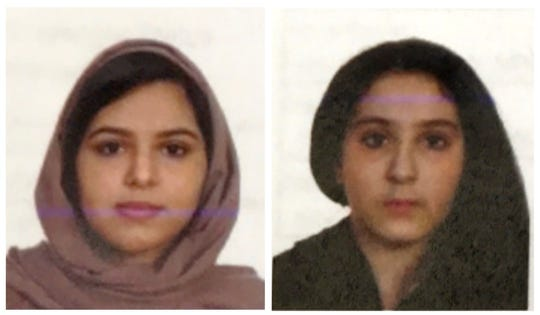 Saudi Arabian sisters Rotana Farea, 23, left, and Tala Farea, 16, were found dead and bound together alongside the Hudson River on Oct. 24. Their deaths have been ruled a double suicide.
