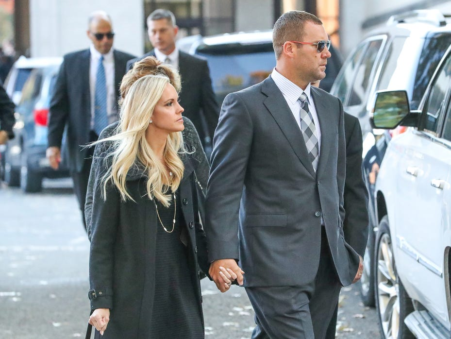 Pittsburgh Steelers quarterback Ben Roethlisberger and his wife Ashley Harlan attend the memorial service for brothers David and Cecil Rosenthal, held at Rodef Shalom Synagogue, Tuesday, in Pittsburgh, Pa.