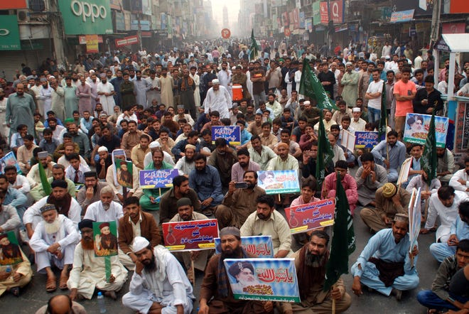 A protest erupts In Faisalabad, Pakistan, after the country's Supreme Court acquitted Asia Bibi, a Christian accused of blasphemy, on October 31, 2018.