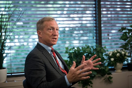Environmental activist Tom Steyer speaks during a USA TODAY interview Sept. 20, 2016, in Washington, D.C.