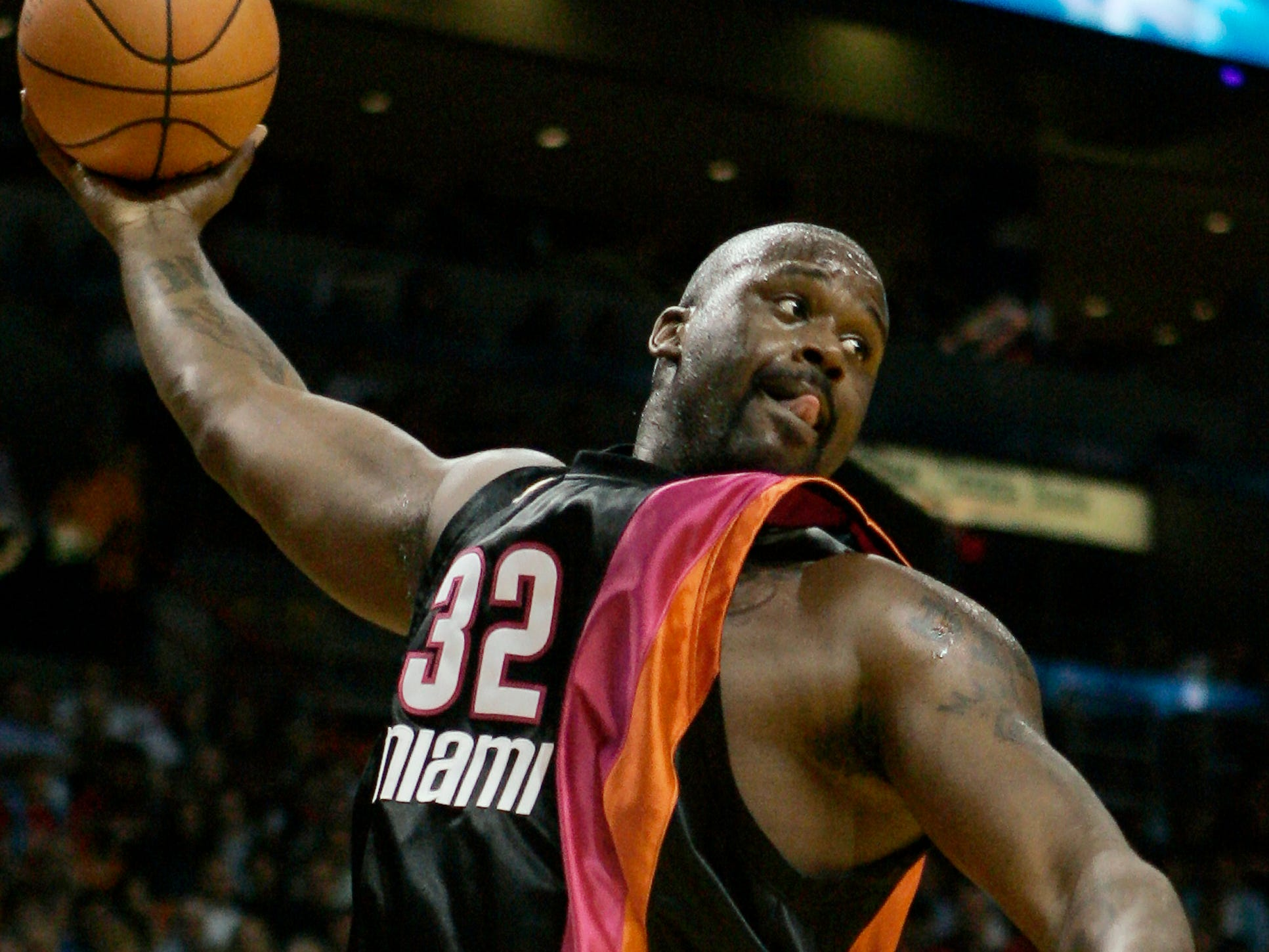 Shaquille O'Neal sports the Miami Heat's rainbow look 2005.