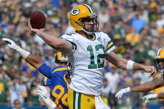 Packers quarterback Aaron Rodgers gets a marquee Sunday night matchup in Week 9 against Tom Brady and the Patriots.
