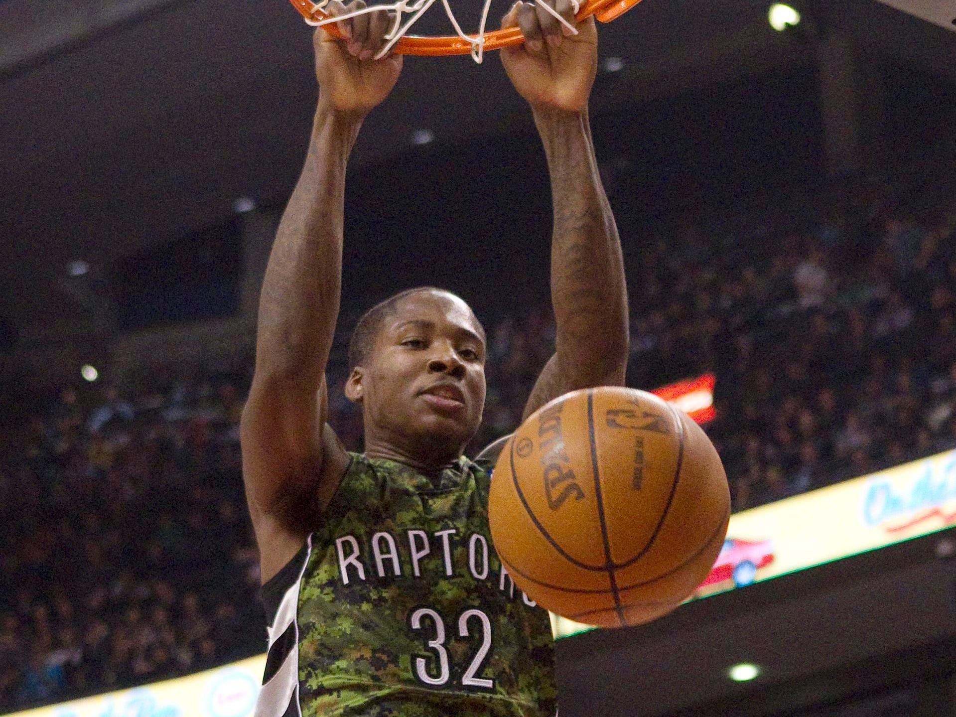 OK, maybe the dino wasn't so bad. Check out Ed Davis' 2012 Toronto Raptors camouflage uniform.