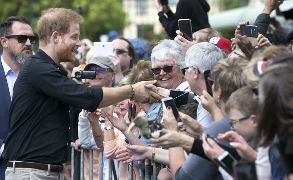 Prince Harry greets the crowds during a walkabout at Government Gardens on Oct. 31, 2018 in Rotorua, New Zealand.