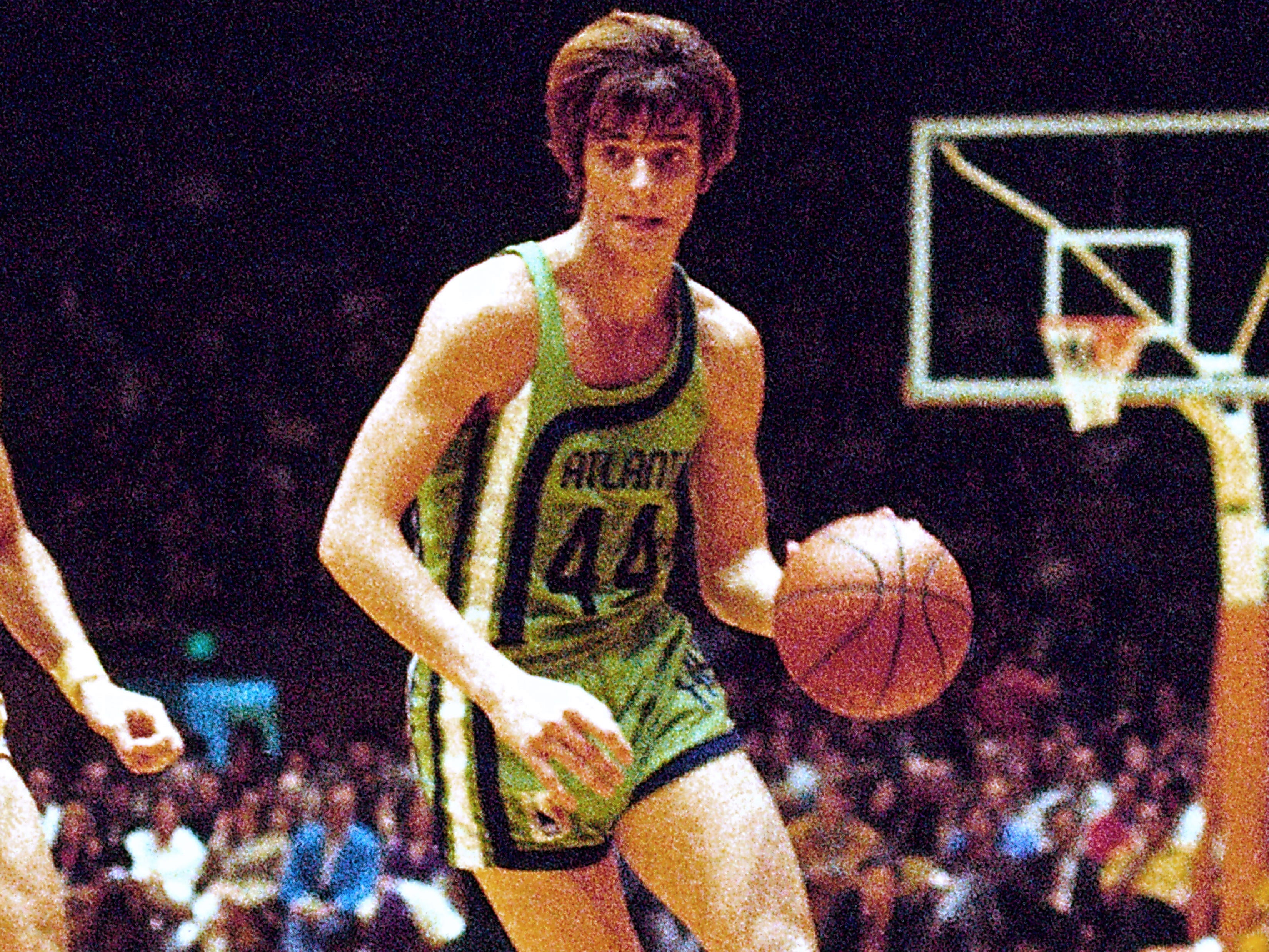 "Speaking of throwbacks, how about ""Pistol"" Pete Maravich's Atlanta Hawks duds, complete with short shorts, from 1971?"