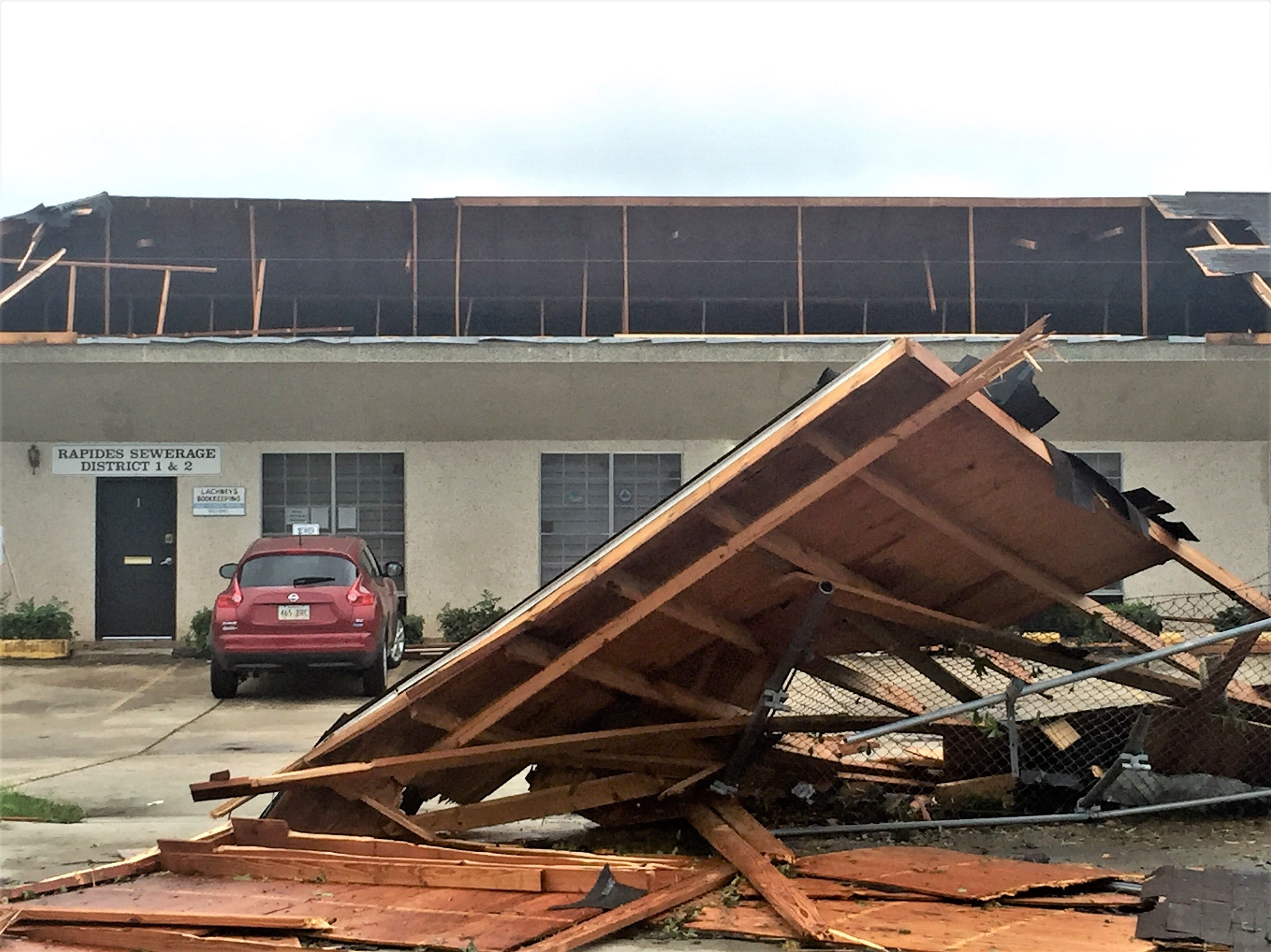 The roof of this commercial building on Lee Street in Alexandria was ripped  off during storms Wednesday night.