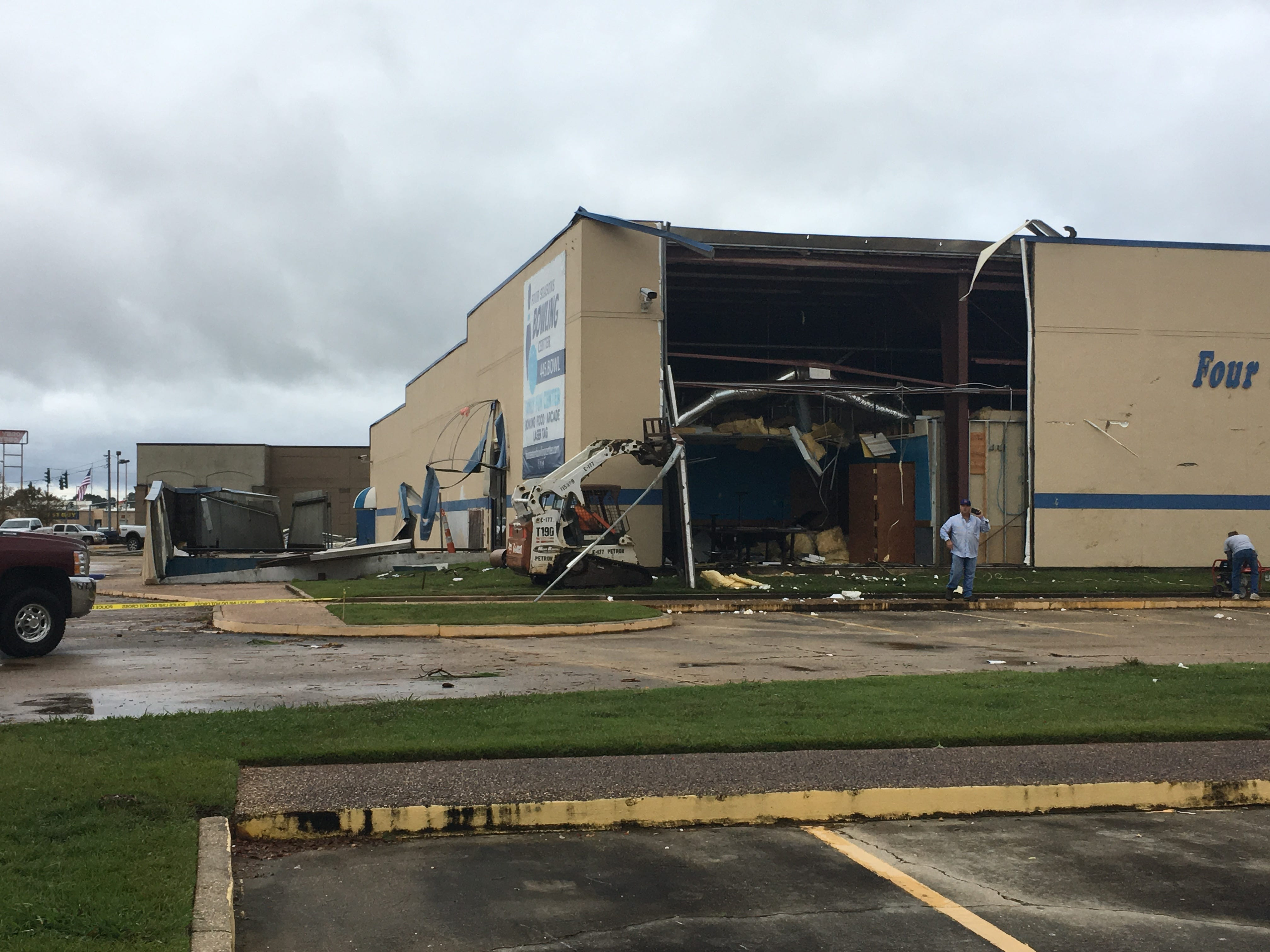 Part of the wall at the Four Season's Bowling Center was destroyed in the Wednesday night storm.