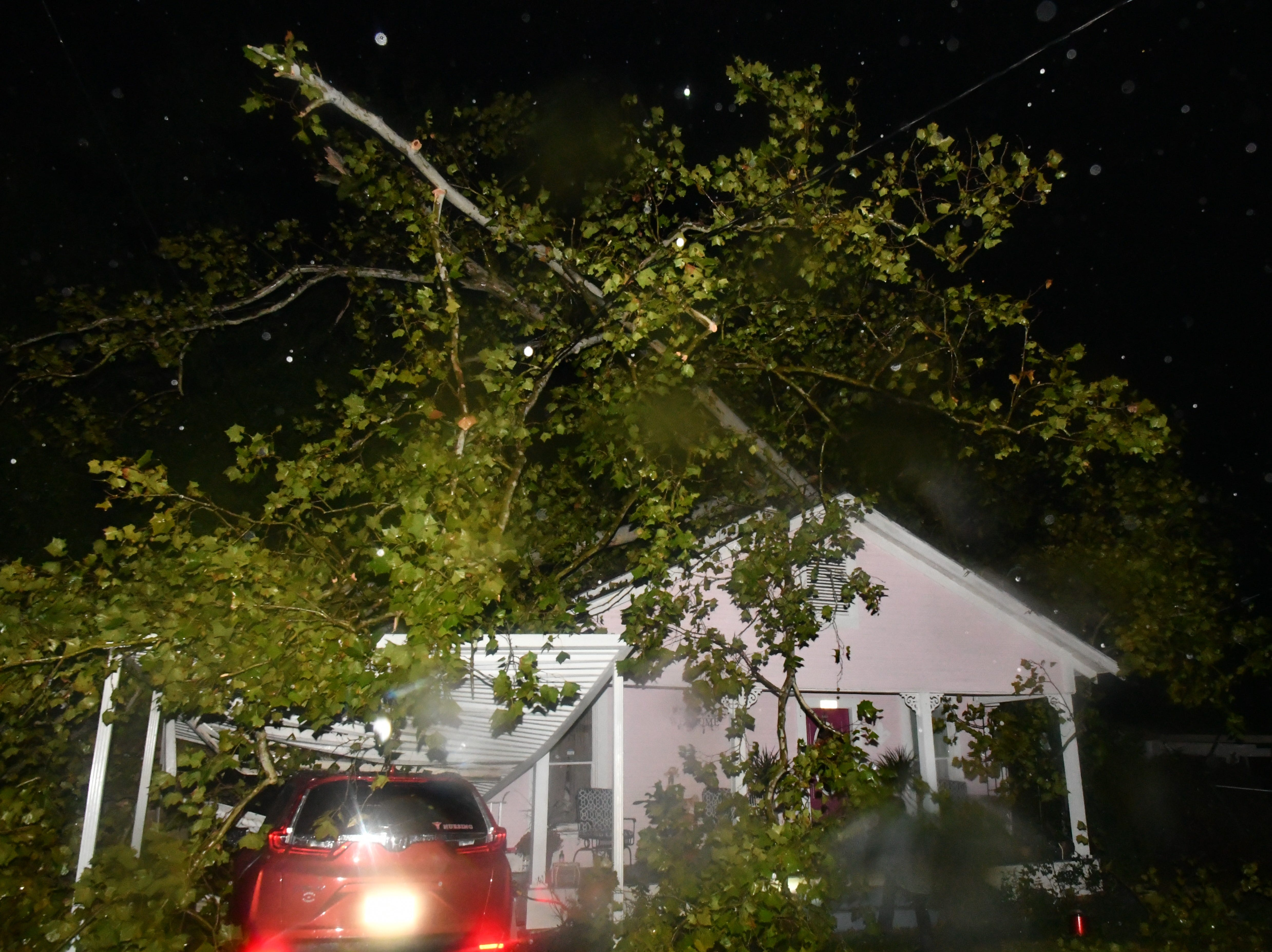 A reader-submitted photo of storm damage on Donahue Ferry Road in Pineville.