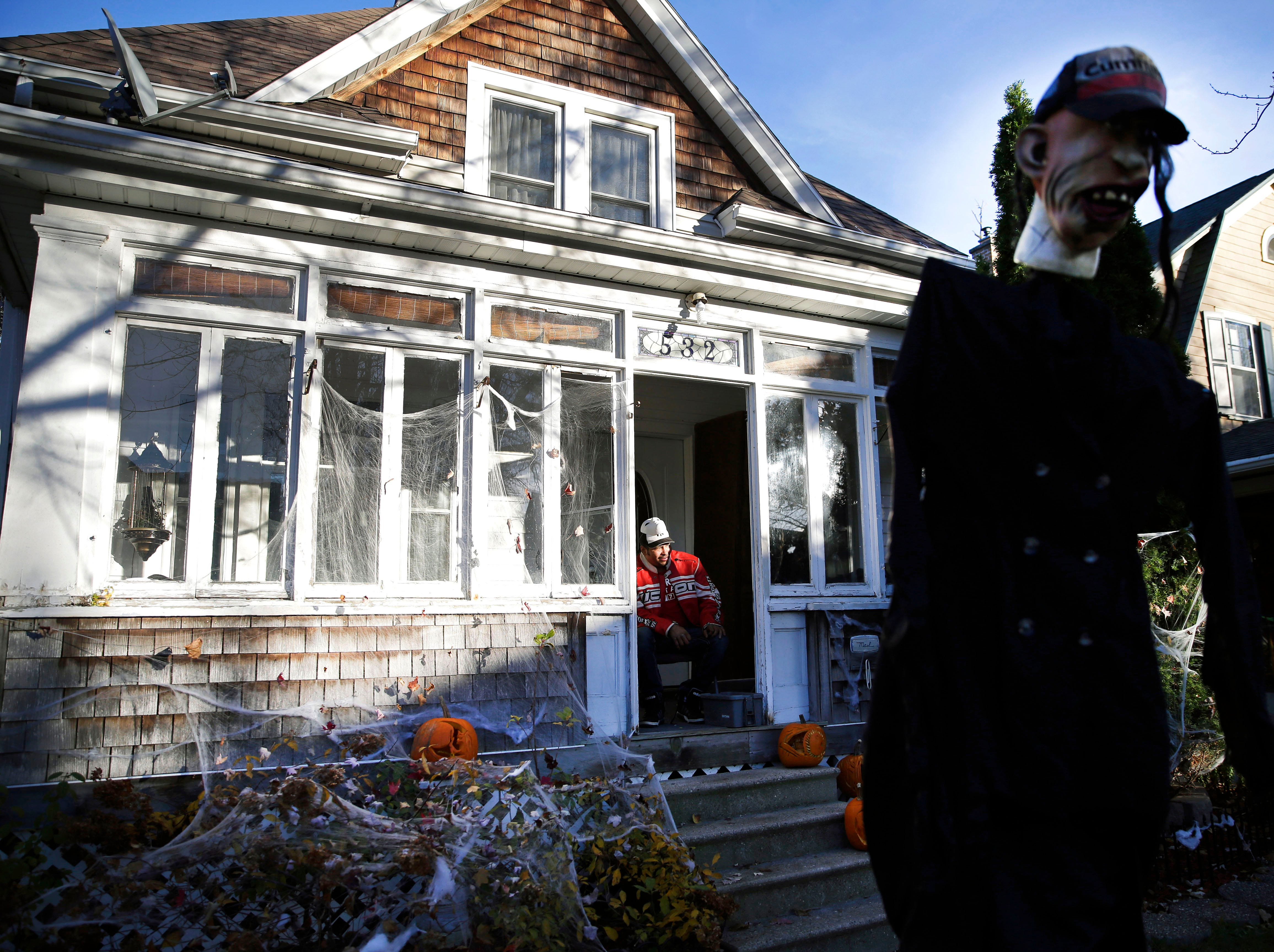 Scott Littles has his house ready for trick-or-treaters Wednesday, October 31, 2018, in Appleton, Wis.