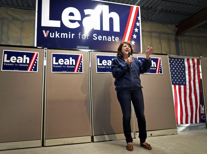 U.S. Senate candidate Leah Vukmir speaks during a campaign stop at the Appleton Victory Center on Thursday in Appleton.