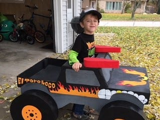 Max Michalski, 4, dressed up as Monster Jam El Torro Loco for Halloween. His parents are Scott and Kaye Michalski, of Kaukauna.