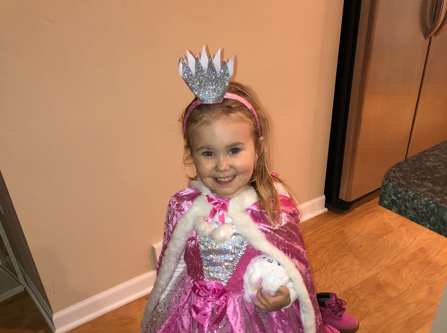 Kendall, 3, all dressed up for Halloween.  Her grandma is Cathy of Greenville.