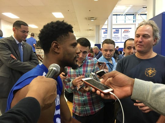 Taurean Thompson speaks with reporters during Seton Hall media day