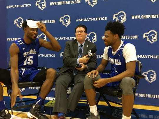 Taurean Thompson (left) and Anthony Nelson (right) doing some shtick at Seton Hall's media day