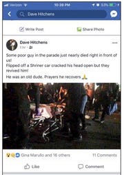 Facebook screenshot of first responders aiding a crash victim at Wednesday's Toms River Halloween Parade.