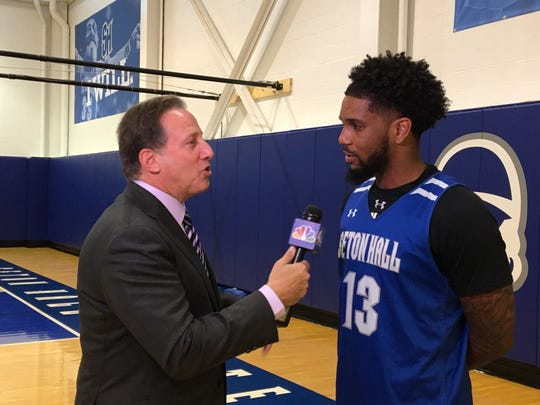 Seton Hall guard Myles Powell speaks with NBC's Bruce Beck during media day.