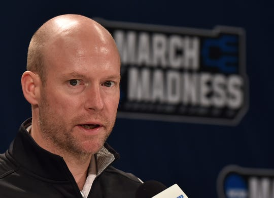 Seton Hall Pirates head coach Kevin Willard at a press conference during the practice day before the first round of the 2018 NCAA Tournament at INTRUST Bank Arena.