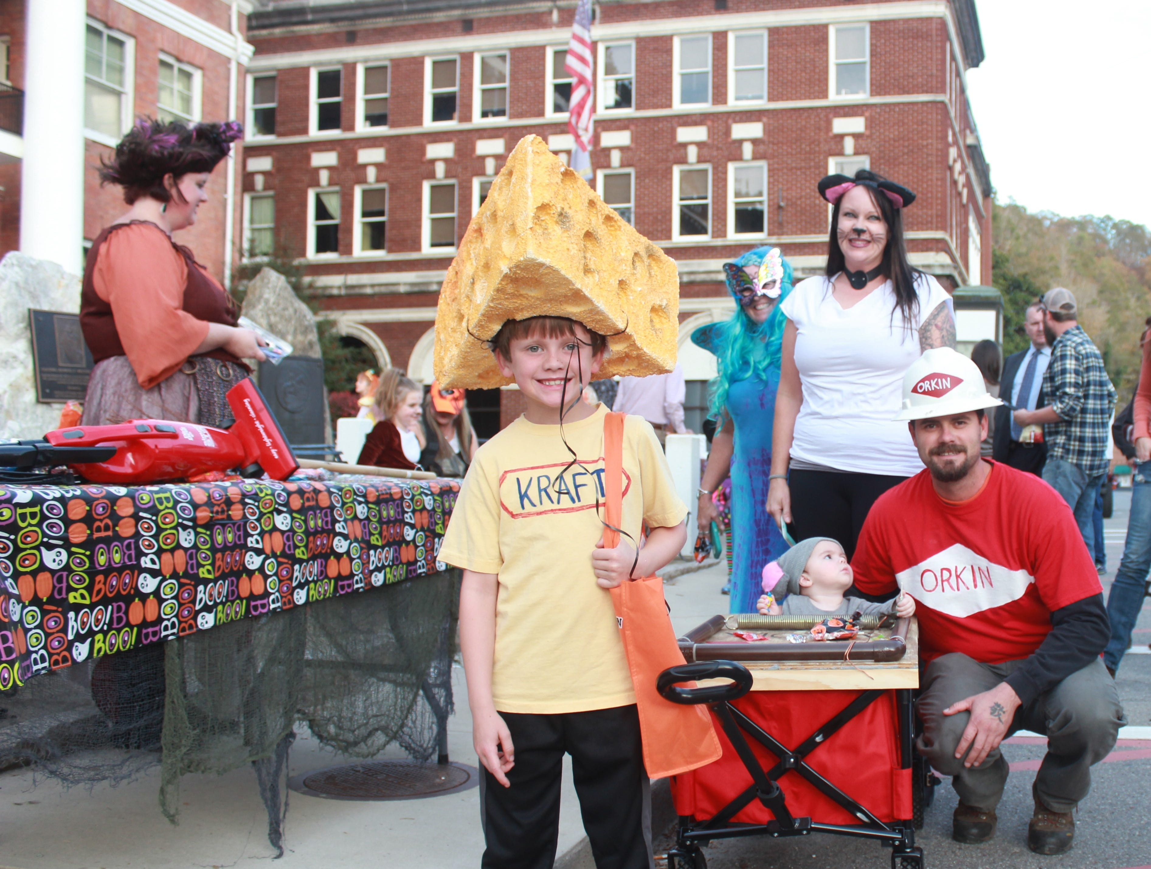 The Naillon family - Walter, Lela, Hudson and Zayden - won plaudits with their creative mouse trap family costume.
