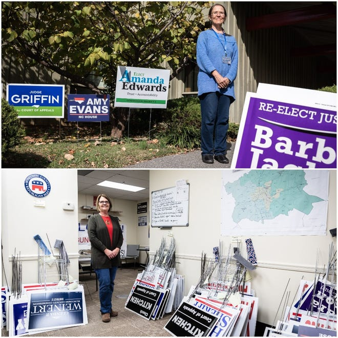 Democratic volunteer Kris Kramer, top, is shown at Black Mountain Public Library where she hands out literature for candidates. Republican volunteer Angela Phillips, bottom, is at Buncombe County Republican Party headquarters in downtown Asheville. She is the party treasurer