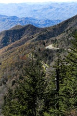 The Blue Ridge Parkway is seen  from Water Rock Knob on Oct. 30, 2018.